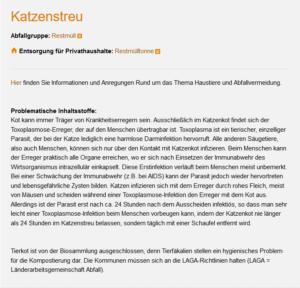 Abfallwirtschaftsbetrieb München: Katzenkot darf nicht in den Biomüll.